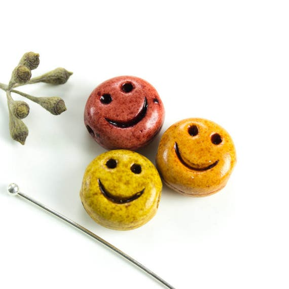 25off Set Of 3 Ceramic Smiley Face Beads Carved Smile Warm Etsy