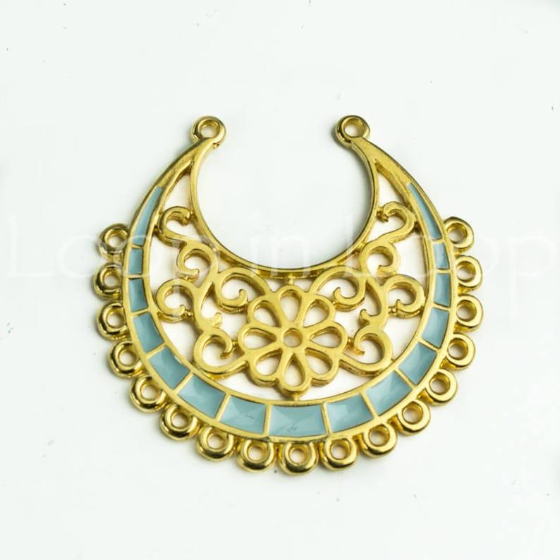 25/% OFF Turquoise enamel 24k gold flower pendant connector crescent moon large gold Filigree boho tribal casting hypoallergenic Zamak 1 pc