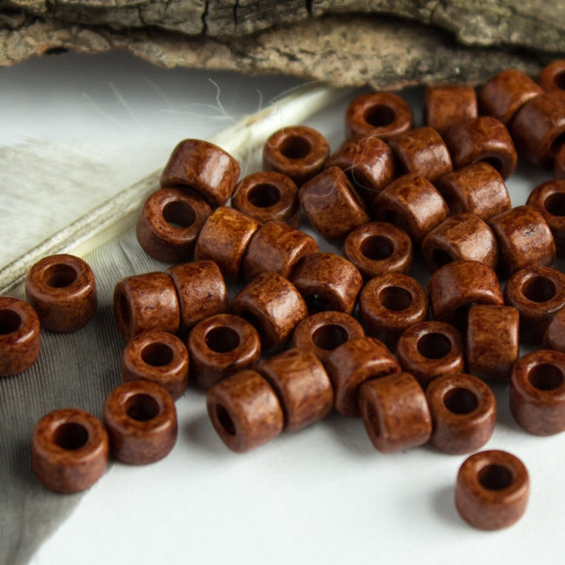 25/%OFF Mykonos Greek Ceramic bead Earthy Milk Chocolate Mini Tube 6X4mm 30 Beads Autumn colors craft jewelry supplies DIY