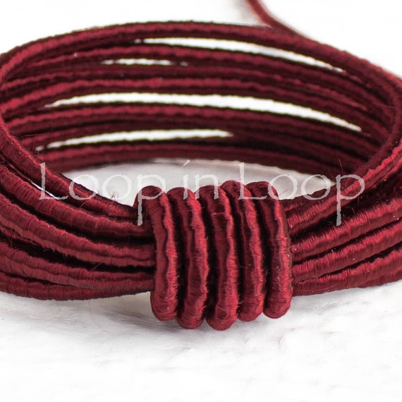 for Jewelry 15/%OFF Dark Red SILK cord 3 feet polyester core organic natural hand spun silk Wrapped Silk Satin Cord rope 1.5 mm thick