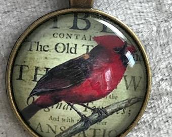 Cardinal angel bird bead woven necklace