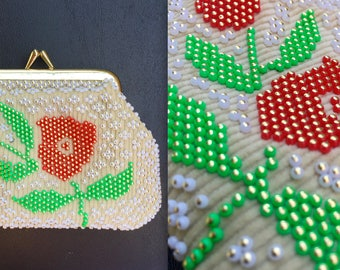 Vintage 1950s 60s Rare Corduroy Beaded Floral Coin Purse - Kisslock Pouch