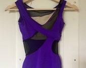 SALE Vintage 90s Maillot Swimsuit - One Piece - Purple Black Mesh Cutouts - size XS