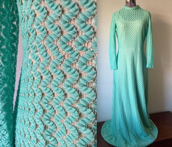 Vintage 1970s Crochet Lace Mermaid Maxi Dress - L… - image 1