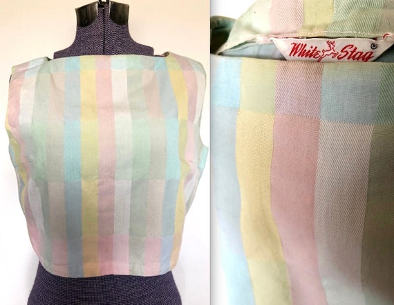 Vintage 1950s Pastel Stripe Crop Top Blouse- Mediu