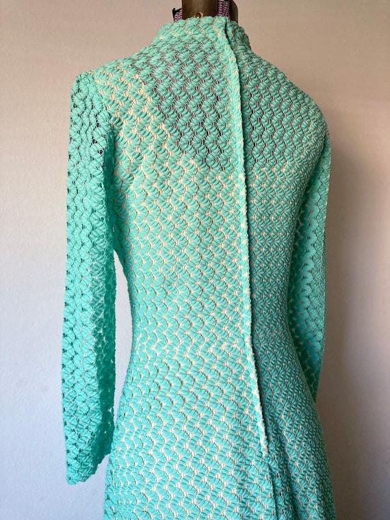 Vintage 1970s Crochet Lace Mermaid Maxi Dress - L… - image 5