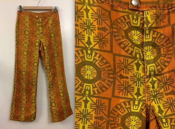 Rare Vintage 1960s 70s Maverick Jeans Pants Tribal