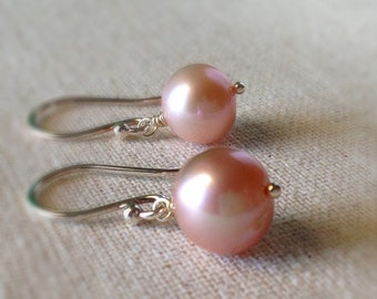 49a1a7185 Pink Pearl Earrings, Blush Pink, Freshwater Pearl Earrings, Sterling Silver  Simple Pearl Earrings, Dusty Pink Pearl Earrings, Bridesmaids