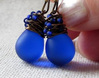 Cobalt Blue Glass Earrings, Royal Blue Glass Earrings, Confetti Earrings, Czech Glass, Wire Wrapped, Teardrop, Antiqued Brass, Confetti