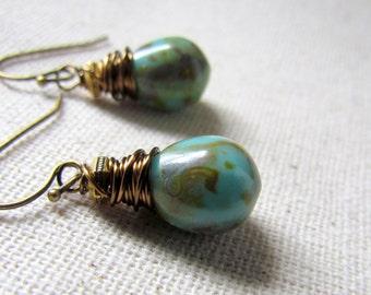 Turquoise Glass Earrings, Green Czech Glass, Earthy Green Earrings, Wire Wrapped, Antiqued Brass, Small Blue Earrings, Blue Green Teardrops