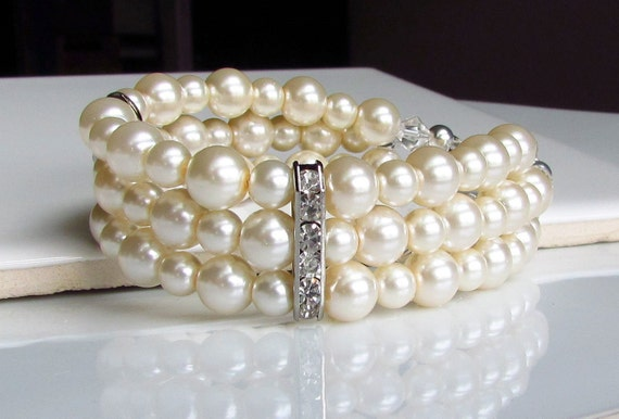 Multistrand Ivory Pearl Bracelet Three Strand Pearl Cuff Etsy