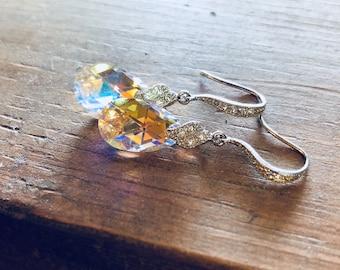 Bridal Earrings, Crystal Earrings, Swarovski Crystal Cubic Zirconia Earrings, CZ Sparkle, Bridesmaids Earrings,Crystal Drop Earrings