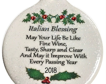 Like Good Wine Italian Blessing 2018 Porcelain Ornament Gift Boxed Rhinestone Italy Christmas