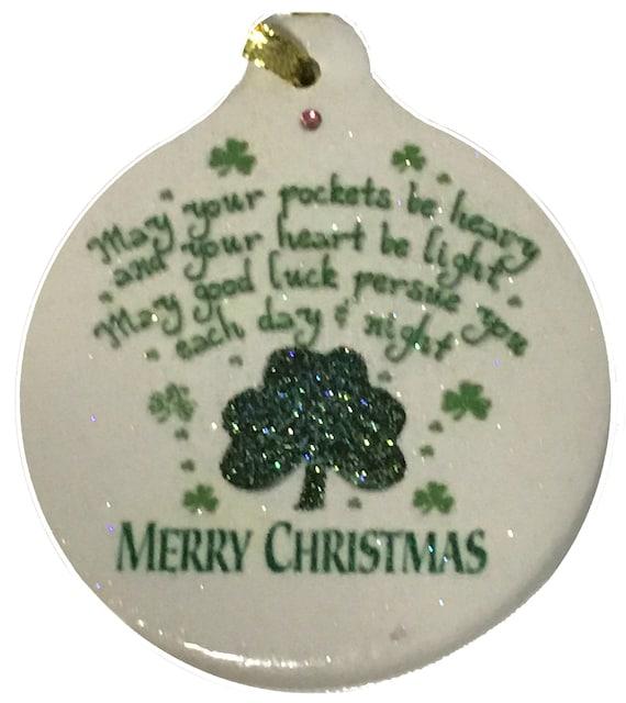 Irish Christmas Blessing.Irish Christmas Blessing Porcelain Ornament Rhinestone Celtic Pride Family Love Support Good Luck Gift Boxed
