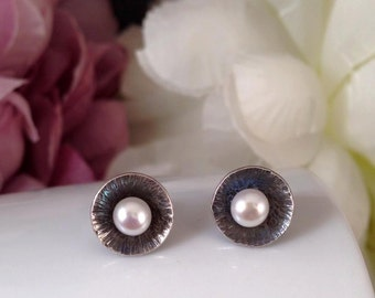 Sterling silver oxidised studs with white pearls