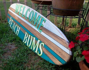 Attractive Distressed Surfboard Wall Hanging, Welcome Beach Bums Surfboard Wall Art