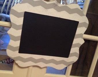 Chevron 11x14 shaped frame chalkboard with burlap bow