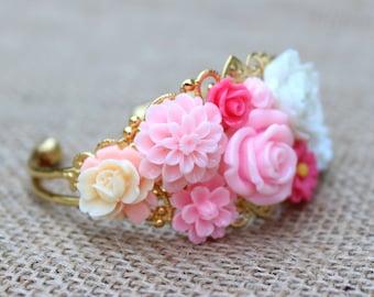 Mimi Gifts, Flower Jewelry Mothers Day Gift Vintage Style Cuff Bracelet Resin Bracelet