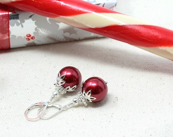 christmas earrings dangle winter jewelry christmas gift red dangle earrings dangle earrings red silver earrings dangle gifts under 30