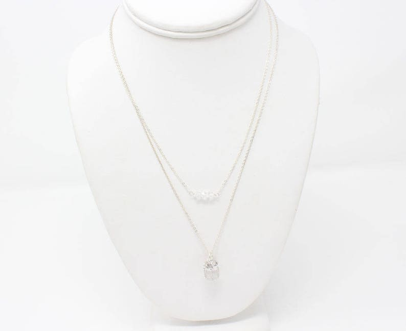 Christmas Gift Necklace Minimal Necklace Christmas Necklace Holiday Jewelry Layered Necklace Silver Christmas Jewelry Layered Necklace