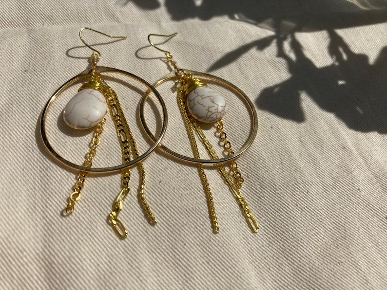 Labradorite White Howlite Fringe Hoop Earrings Smoky Quartz Gold Brass