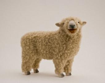 Handmade Ceramic Sheep, English Babydoll Southdown Sheep Figure Baaing in Porcelain and Wool