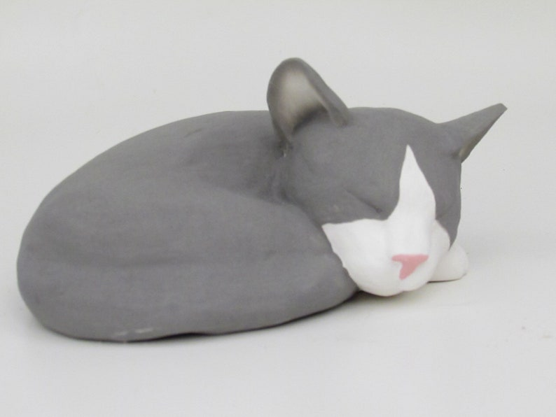 Grey Tuxedo Cat Personalized Pet Ashes Urn OR