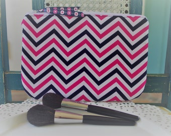 Medium Cosmetic Pouch Navy and Pink Chevron  Print...Cordelia Collection