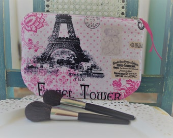 Medium Cosmetic Pouch Eiffel Tower Paris Print...Cordelia Collection
