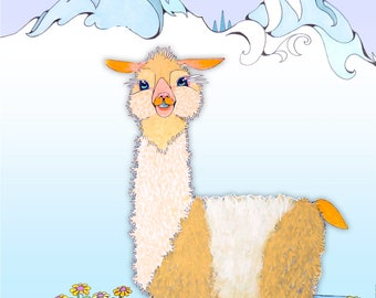 Cutie Pie the Alpaca drawing in the moutains