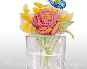 Flowers in a vase Butterfly Peonies