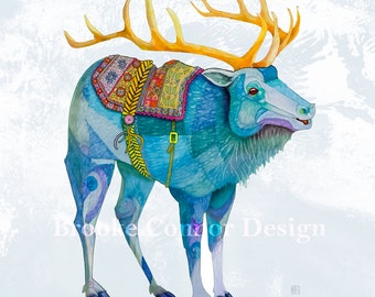 The Blue Elk like a Wapiti Reindeer