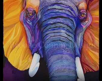 Elephant Color Guard - Giclee African