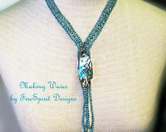 Making Waves- OOAK necklace- handmade necklace- beadwoven necklace-beadweaving- art to wear- abalone shell pendant necklace- gift for her
