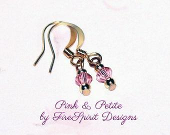 Pink & Petite- handmade crystal earrings, OOAK earrings, Swarovski crystal earrings, gift for her, small earrings, pierced earrings