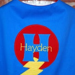 Custom Made EMBROIDERED and Personalized SuperHero Cape in Blue and Red