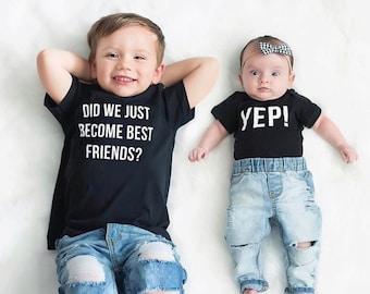 Matching Best Friend Tees Twins Did We Just Become Best Friends? Yep! Siblings pregnancy announcement BFF brothers sisters Trendy friend tee