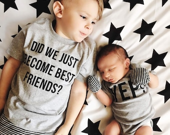 Matching Best Friend Tees Twins Did We Just Become Best Friends? Yep! Siblings pregnancy announcement BFF brothers sisters Trendy friend tee