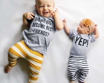 Matching Best Friend Tees Twins Did We Just Become Best Friends? Yep! Siblings pregnancy announcement BFF brothers sisters Original friend