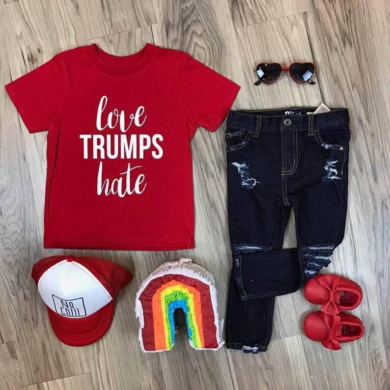 0117c6235 Love Trumps Hate Kid's Trendy Tee Or Bodysuit Baby Toddler | Etsy