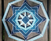 Blue Inversion Kit! Includes Sticks, Yarn, and Downloadable Instructions. Kit for making one 8-sided, 12-inch Mandala Blue Inversion.
