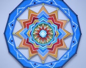 Wheel of Life, 32 inches, with acrylic and wool yarns, by Jay Mohler, in stock, ready to ship