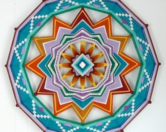 Circle of Light, 24 inches, 12 sides, all wool Ojo de Dios mandala by custom order