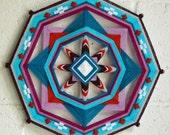 Evening Star, a 12 inch, 8-sided Ojo de Dios mandala, a custom order