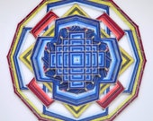 Love Song, a 30 inch Mandala, with a Tibetan mandala design overlayed on the center, by custom order