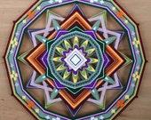 Shield of Love, a 24 inch, wool yarn, Ojo de Dios, by custom order