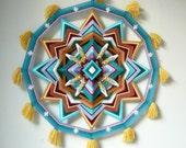 Ojo de Dios mandala, Silent Wonder, 18 or 24 inch 12-sided, by custom order