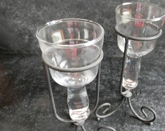 Clearance Sale, Vintage Home Interior glass candle holders, set of two candleholders