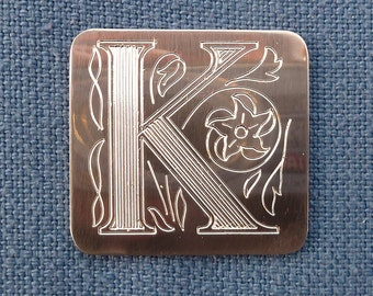 Monogram Pin, Single Ornate Engraved Initial, Pewter. Choose your initial.