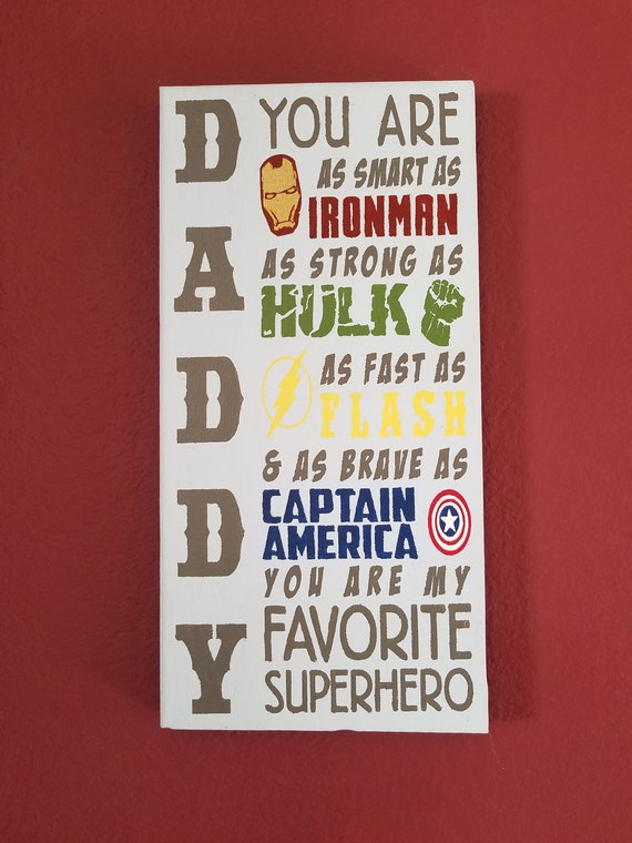 Daddy You Are My Superhero Canvas Painting Nursery Decor Dad